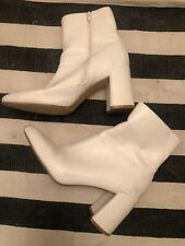Primark Zip White Cream Ankle Boots Block Heel Size 7 Euro 40