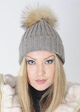 Cappello in lana donna con pompon in vera pelliccia, grigio chiaro, Hat ladies