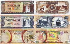 GUYANA - Lotto 3 banconote 10/20/50 Dollars FDS - UNC