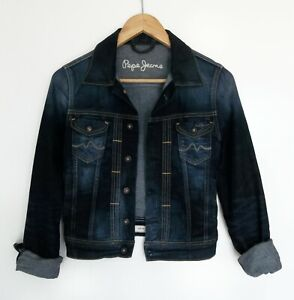 PEPE JEANS // Size S M // Dark Denim Stretch Slim Fit Denim Jacket