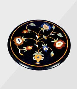 "18"" Marble Corner End Table Top Pietra dura Craft Handmade Art Home Decor"