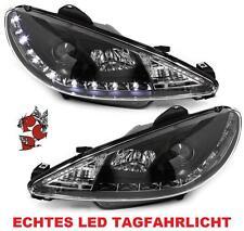 Faros peugeot 206 + CC convertible 98-07 negro Black frase LED de circulación diurna
