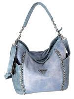 Damen Handtasche groß Schultertasche Umhängetasche Denim Ketten-Shopper XL