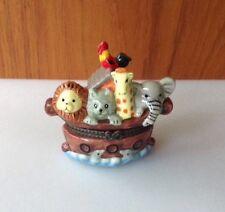 Noah's Ark Ceramic Hinged Trinket Box Lion Cat Giraffe Elephant Rooster Dolphins