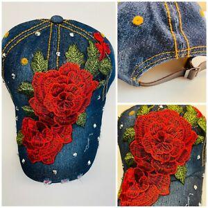Women's Bling Hat Rhinestones Rose Flower Floral Baseball Cap Adjustable back 02
