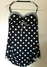 Cute Black & White Polka Dot Tankini Dress Swim Suit 2X no Tags Nwot