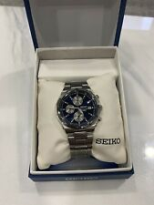 SEIKO SNA695 Alarm Chronograph Blue and Silver Dial Stainless Steel Sports Watch