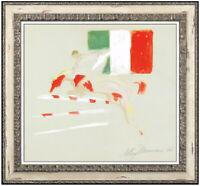 LEROY NEIMAN Original Acrylic PAINTING Signed Horse Sports Art Racing AUTHENTIC