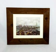 PANORAMIC Art Print OF PARIS FRANCE Signed Framed Eiffel Tower Seine Notre Dame