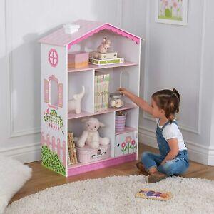 Dolls House Cottage Wooden Bookshelf For Kids, Sturdy Wood Construction.