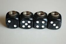 DUDDS DICE BLACK GRAY MARBLE w/WHITE DOTS VALVE STEM CAPS (4 PACK) #42