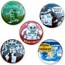 """THRASHER """"Logo Buttons"""" Badges 1 inch Five Pack Skateboard Badge 5 pack Rock"""