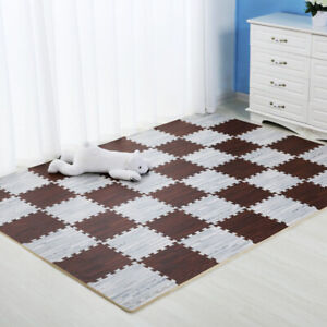 Wooden Puzzle Mat Foam Baby Play Mat Splicing Bedroom Gym Crawling Carpet