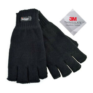 Mens Fingerless 3M Thinsulate Insulated Knitted Extra WarmThermal Winter Gloves