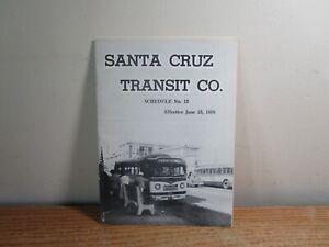 SANTA CRUZ TRANSIT CO. #12 1958 BUS SCHEDULE TIME TABLE PAPER EPHEMERA TOUR