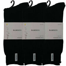 6 Mens Black Bamboo Socks Cushioned Sole Thick Warm Soft Work Sports H/Duty 7-11