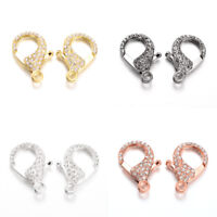 10pcs Alloy Rhinestones Lobster Claw Clasps Metal Color Plated Big Size 31x22mm