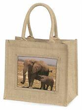 Elephant Feeding Baby Large Natural Jute Shopping Bag Christmas Gift Id, AE-7BLN