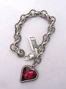 Brighton BIBI bracelet- silver link chain - heart charm- red crystal