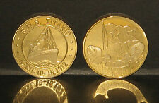 Superb TITANIC 24ct Gold Plated 1912 commemorative with White Star Line Flag