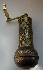 "TURKISH EMBOSSED FAT COFFEE GRINDER MILL DARK BRASS color, 7.5 "" ,MANUAL"
