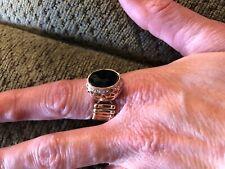 Paparazzi Ring Stretch Band (new)Black Oval Diamonds