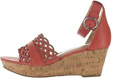 Isaac Mizrahi Leather Wedge Sandals Sunset Coral 9.5M NEW A303062