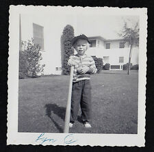 Vintage Antique Photograph Adorable Little Boy in Cap With Baseball Bat and Ball