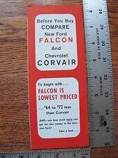 Original 1960 60 Ford Falcon Comparison to Chevrolet Corvair Sales Brochure