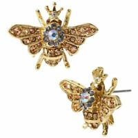 "Betsey Johnson Queen Honey Bee Pave Stud Earrings 1"" Gold Insect Jewelry"