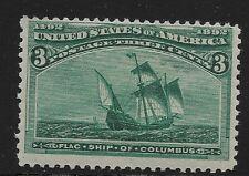 US Scott #232, Single 1893 Flagship of Columbus 3c FVF MNH