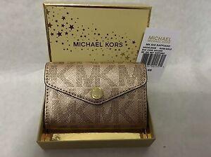 Michael Kors Signature Rose Gold Metallic Saffiano Business Card Holder NEW Tags