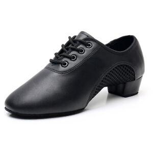Latin Dance Shoes Men PU+Mesh Breathable Soft Ballroom Jazz Tango Dance Shoes