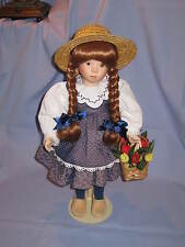 Franklin Heirloom Dutch Doll Holding Basket Of Tulips With Hat And Stand