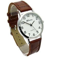 Ravel Mens Super-Clear Easy Read Quartz Watch Brown Band White Face R0102.12.1A