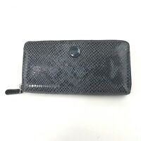 Coach Womens Zip Around Accordion Wallet Snake Print Blue-Like Color Silver