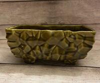 Vintage Mid Century Mod Green Ceramic Pottery Rectangular Pedestal Planter