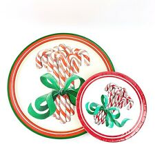 """Vtg POTPOURRI DESIGNS Candy Cane 14"""" Serving Tray And Paper Plates Christmas"""