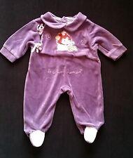 0cb91b1427176 Pyjama velours violet Charlotte aux fraises bébé fille 1 MOIS