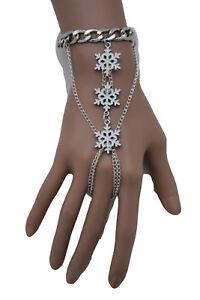 Women Jewelry Silver Metal Hand Chain Bracelet Slave Ring Winter White Sonwflake