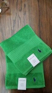 Ralph Lauren Green Hand Towels Brand New