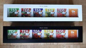 Teebox Tee-Aufbewahrungsbox mit 6 Fächern länglich in weiß oder schwarz 43x9x9cm