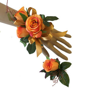 2pc Set - Fall Wrist Corsage and Boutonniere: Orange and Gold Artificial Roses