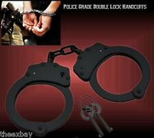 Black STEEL HAND Handcuffs POLICE CUFFS NEW Double Locking REAL DEAL w 2 KEYS