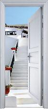 Sticker porte trompe l'oeil déco Escalier blanc 90x200 cm réf 2113