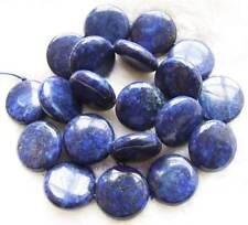 "18mm Coin Smooth Bule Lapis Lazuli Gemstone Beads15"""