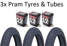 "3x Kenda Pram Tyres & Straight Valve Tubes 12"" 12-1/2x2-1/4"" Slick Tyre BLACK"