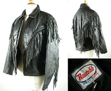 Vtg Womens ROUTE66 Fringe Leather Motorcycle Jacket Black sz 8