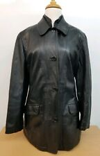 FAY Italy Women Black Leather Jacket Size L