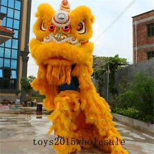 Chinese Lion Mascot Costume Wool Southern Dance Folk Art For Two Adults Parade